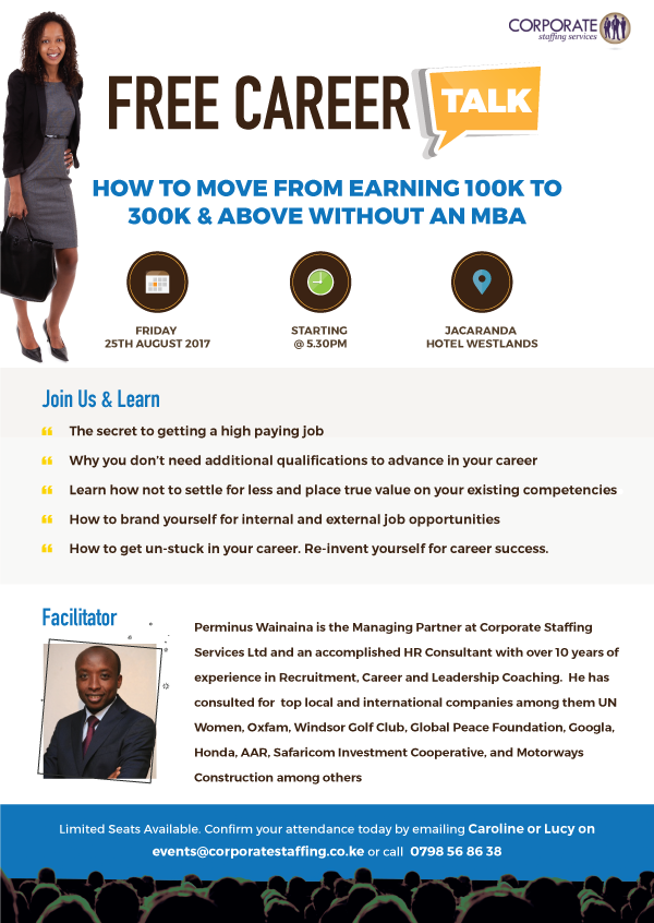 FREE Career Talk  How To Move From Earning 100K To 300K & Above